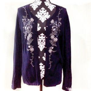 black sequined, beaded cardigan Anne Klein